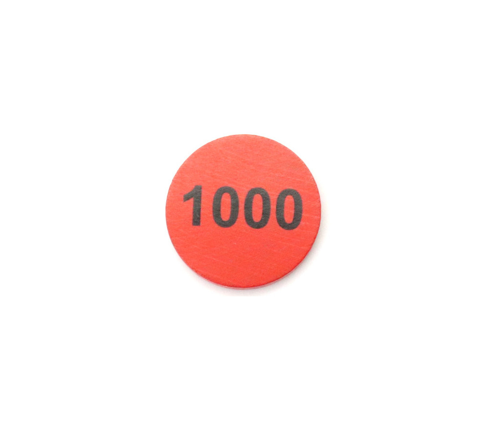 Jeton bois numéro 1000 rond plat de 30 x 4 mm rouge