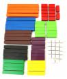 74 réglettes en bois cuisenaire de 1 à 10 cm - bâtonnets bois