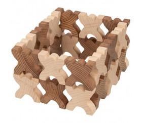 48 Bonhommes X meeple 4.2 cm à empiler en bois marron et naturel