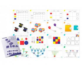 Blocs logiques 2 tailles : 60 formes géométriques + 16 fiches d'activités