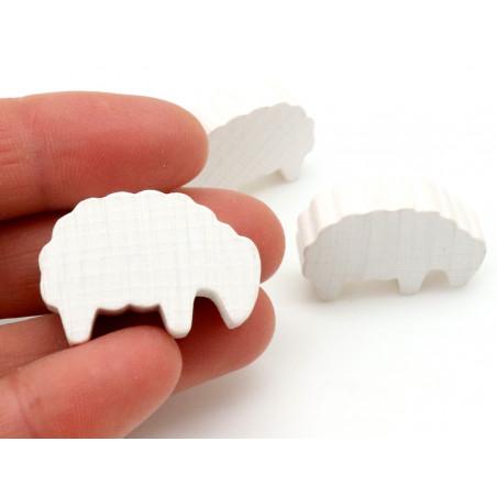 Mouton blanc petit modèle en bois pion pour jeu de société 30 x 14 x 8 mm