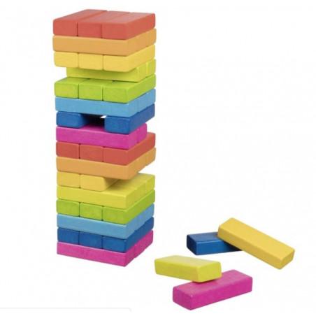 Jeu tour équilibre bois Arc en ciel 48 blocs - 24 cm