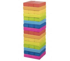 Jeu tour équilibre bois Arc en ciel 56 blocs - 24 cm