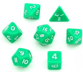 Lot de 7 dés multi-faces opaques verts