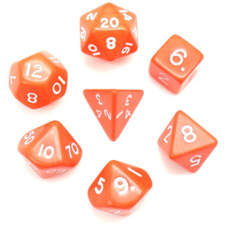 Lot de 7 dés multi-faces opaques oranges