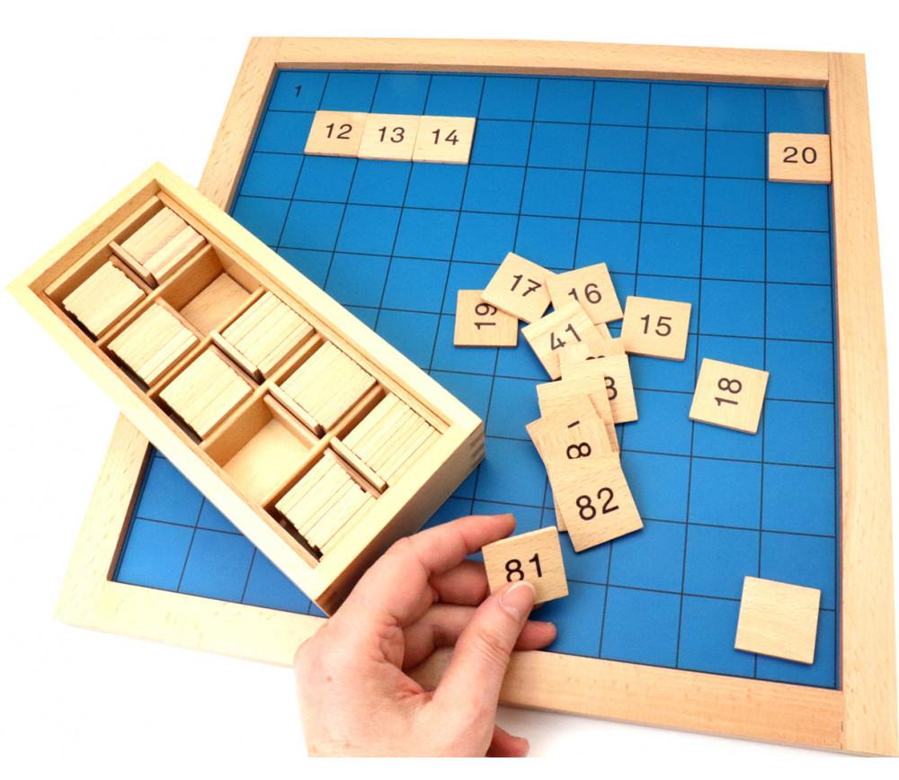 Montessori Table des 100 plateau centaine