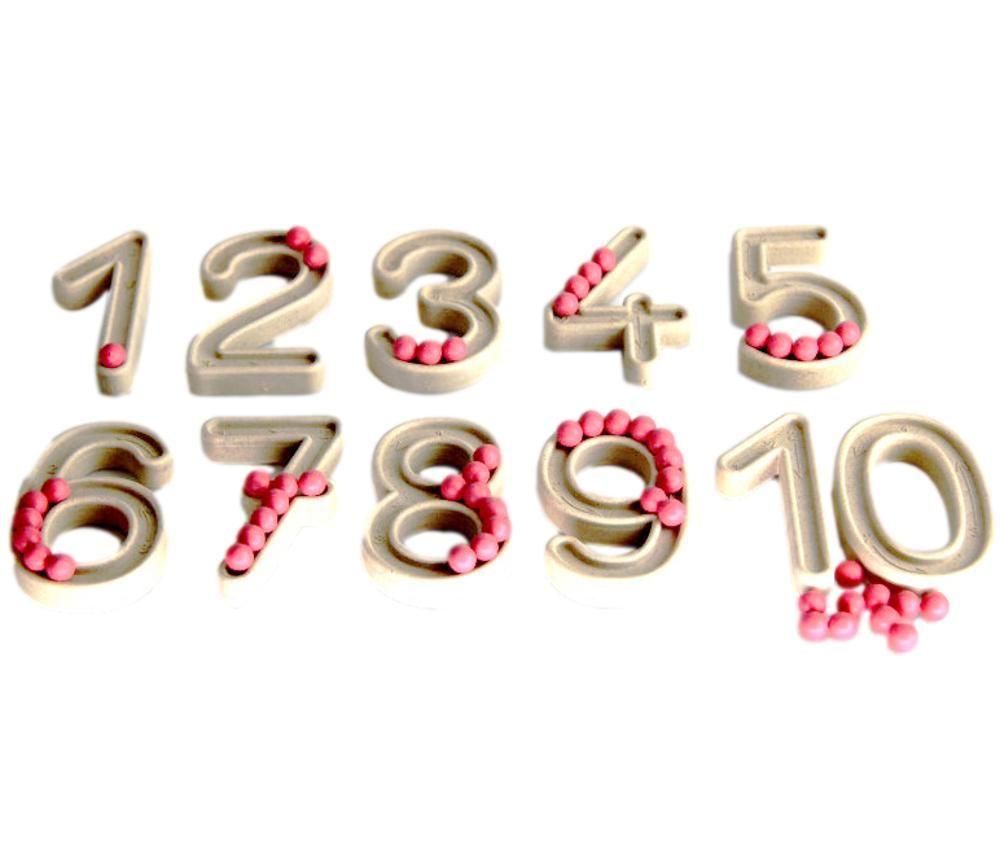 10 Grands chiffres en relief 7.5 cm avec billes