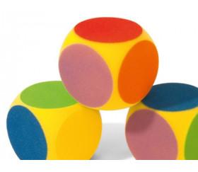 Dé géant 16 cm 6 couleurs en mousse compacte