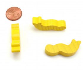 Pion ver de terre / chenille 36 x 16 x 8 mm jaune