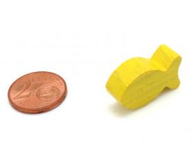 Pion poisson jaune en bois 24 x 13 x 8 mm pour jeu