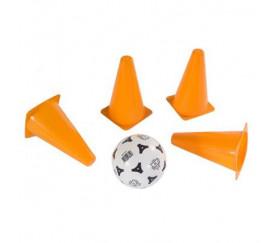 4 Cônes slalom 16.5 cm + mini ballon