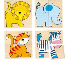 Puzzle et mémo animaux sauvages en bois