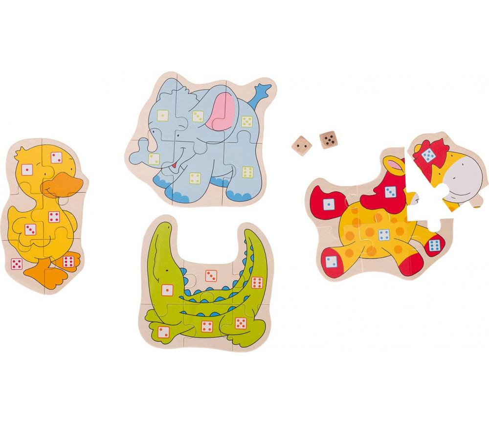 Jeu puzzle numération 1 à 6 les animaux en bois