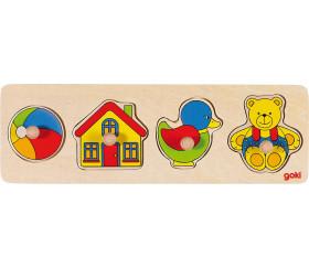 Puzzle en bois à boutons 4 pièces à encastrer jouets pour bébé