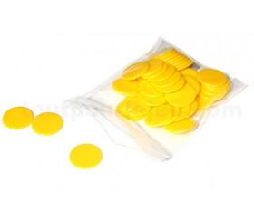 Jetons jeux jaunes 20 mm lot de 50