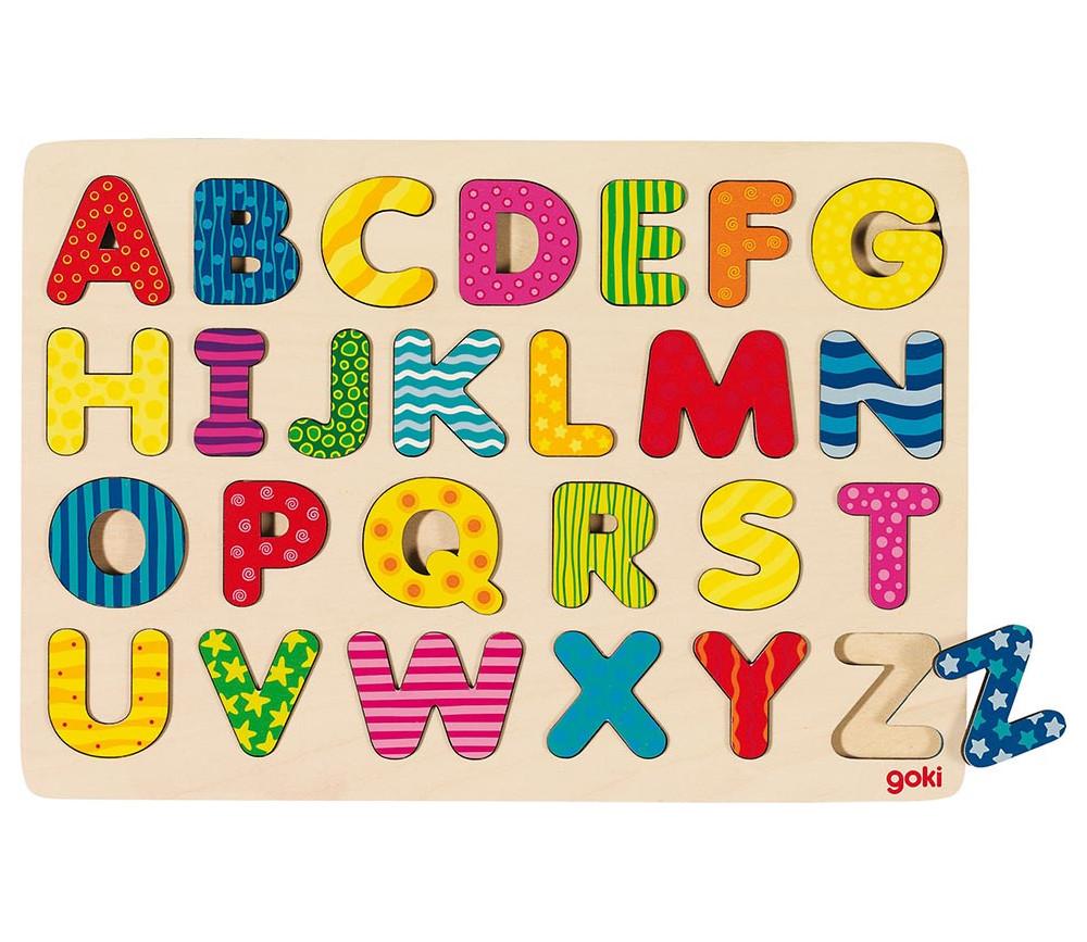 Puzzle en bois à encastrer alphabet dans cadre 30 x 21 cm