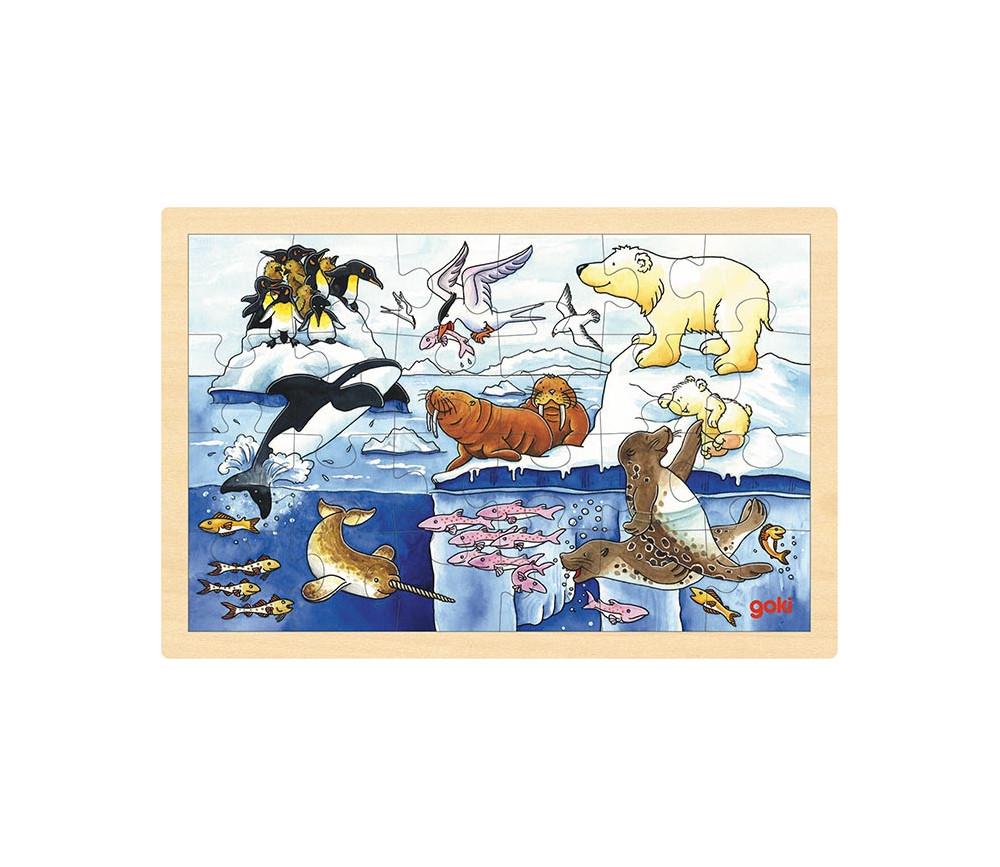 Puzzle en bois 24 animaux de la banquise