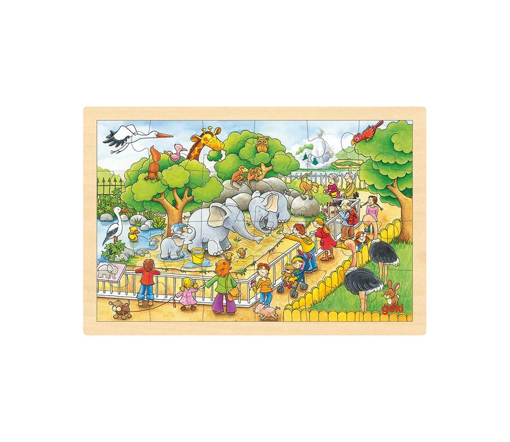Puzzle en bois 24 pièces une journée au zoo