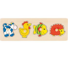 Puzzle en bois boutons 4 animaux à encastrer bébé
