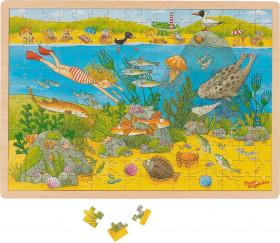 Puzzle en bois 192 pièces le monde sous-marin - jeu éducatif sur l'environnement