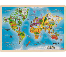 Puzzle en bois 192 pièces mappemonde