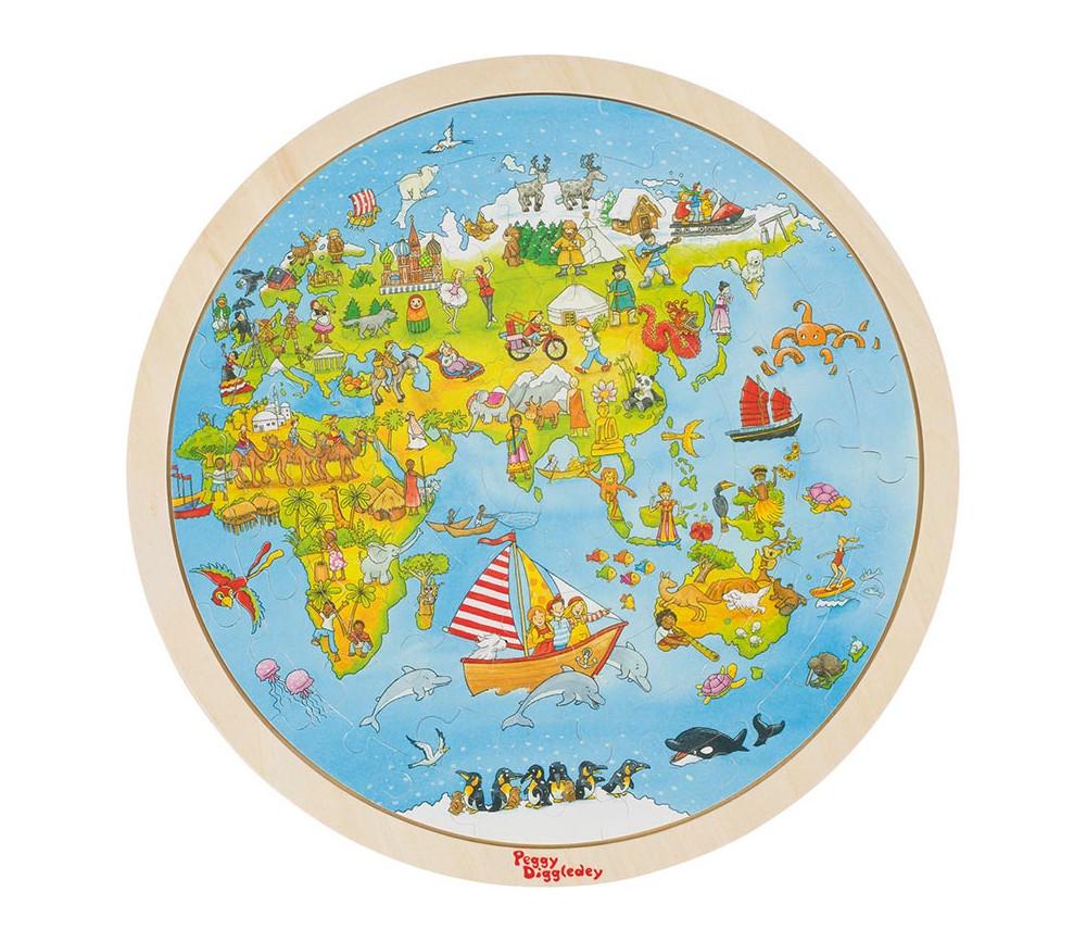 Puzzle en bois rond La terre vue du ciel