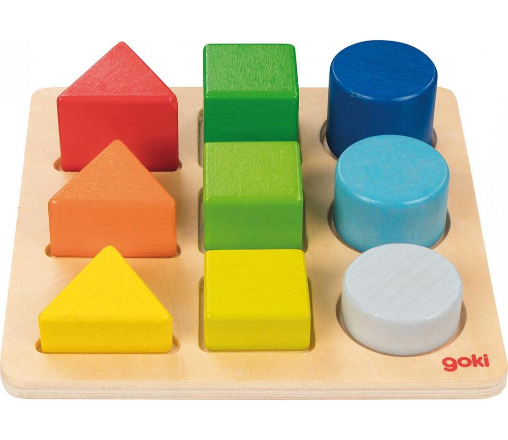 Puzzle en bois classement formes, couleurs et hauteurs enfant