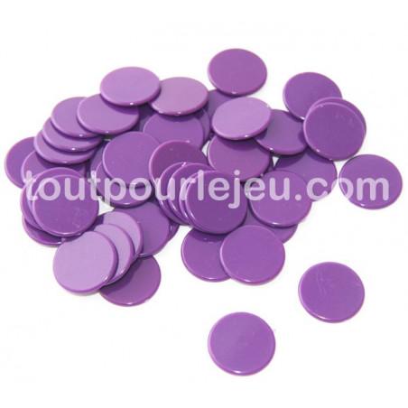 Jetons jeux 20 mm lot de 50 violet