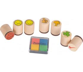 7 mini tampons émotions sourire évaluation trèfle + 4 mini encreurs