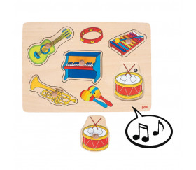 Puzzle en bois sonore instruments de musique à encastrer avec boutons