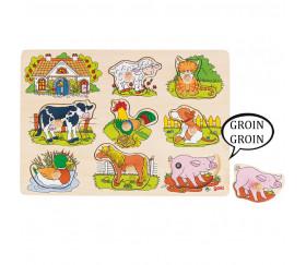 Puzzle en bois sonore animaux de la ferme 8 pièces  à encastrer