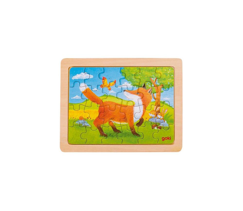 Puzzle en bois Renard et ses amis 24  pièces de 19 x 14.5 cm dans cadre