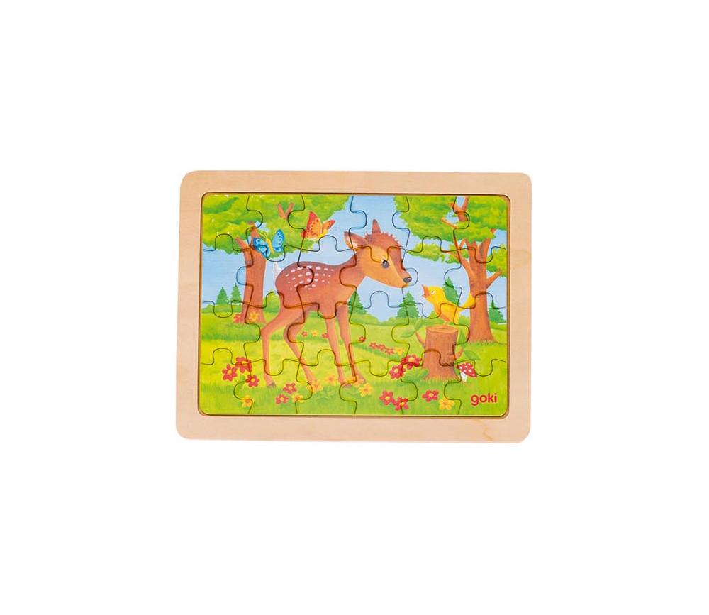 Puzzle en bois Le faon et l'oiseau 24  pièces de 19 x 14.5 cm dans cadre