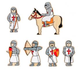6 chevaliers en bois rouges et blancs - Figurines de jeux