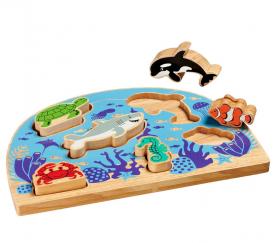 Puzzle en bois monde de la mer à encastrer
