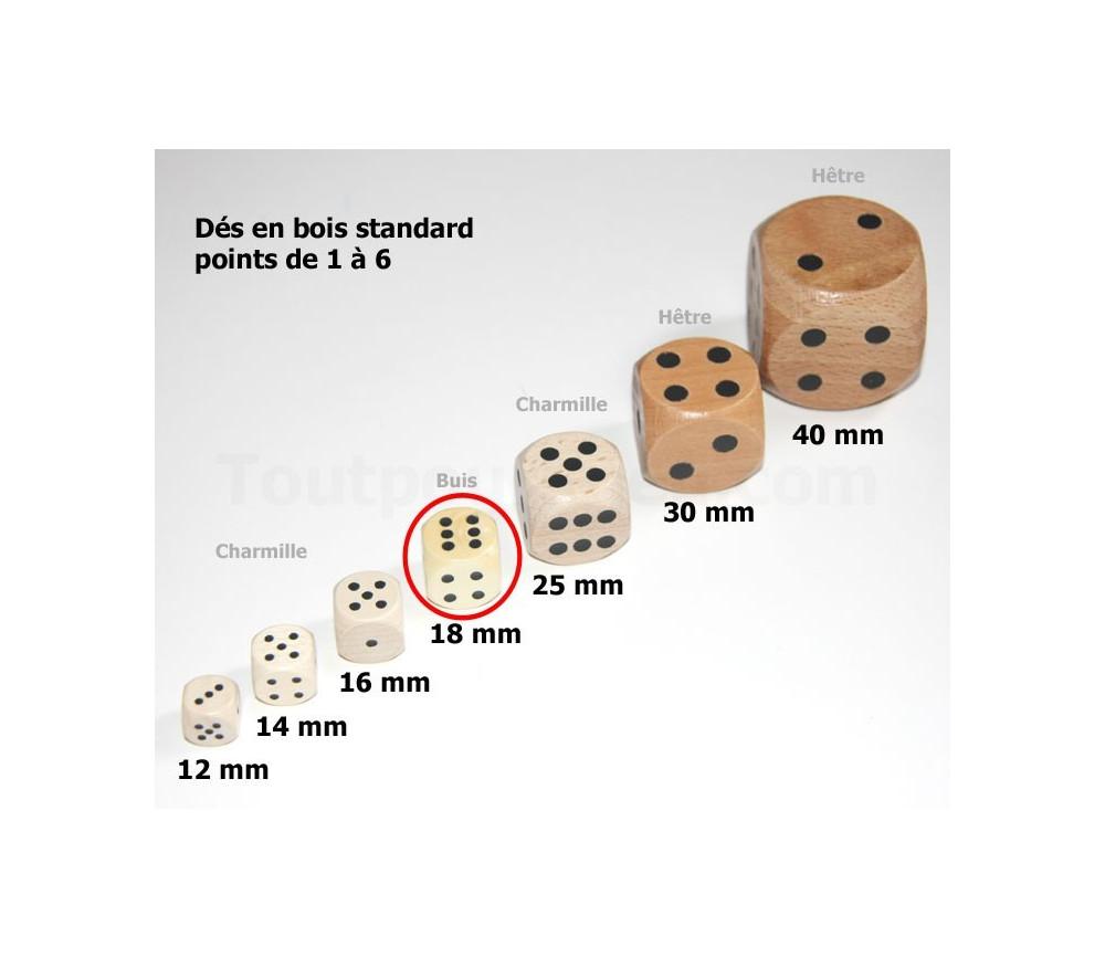 Dé bois 18 mm en buis de 1 à 6 pour jeu de société