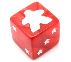 Dé Meeple 6 faces rouge 16 mm pour jeux de société