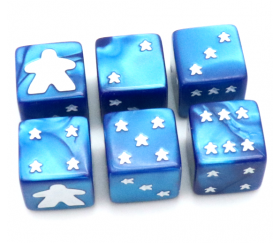 Dé Meeple 6 faces bleu 16 mm