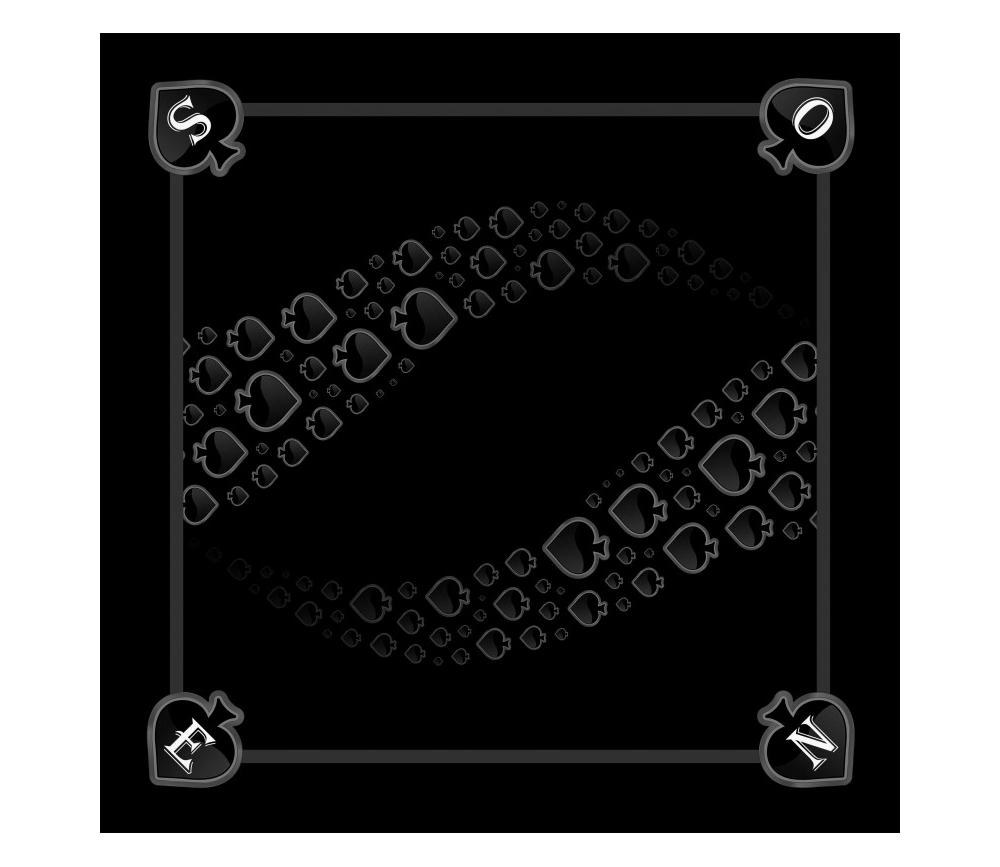 Tapis jeu 60 x 60 cm Tarot noir Pique Forest