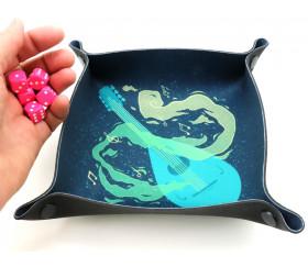Piste dés bleutée musique ensorcelée 20 x 20 cm souple et résistante