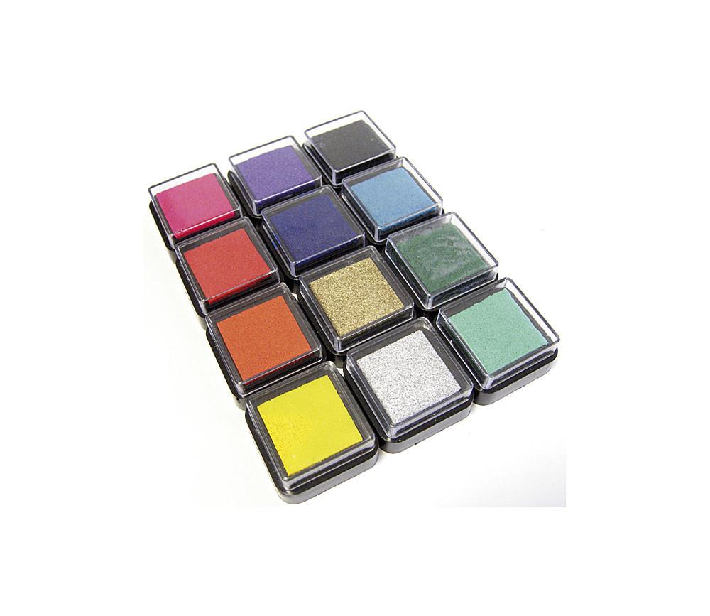 12 encreurs couleurs pour tampons