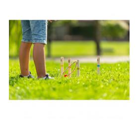 Jeux adresse Cible de lancer bois avec anneaux naturel