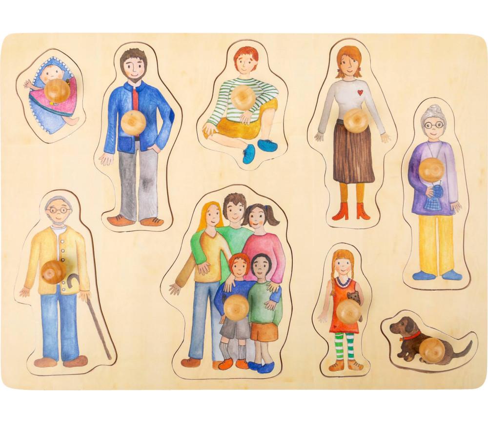 Puzzle en bois à boutons Famille et amis  à encastrer