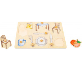 Puzzle en bois à boutons Les objets du quotidien à encastrer