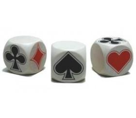 Dé Belote bois blanc 3 cm atout symbole des cartes modèle 2