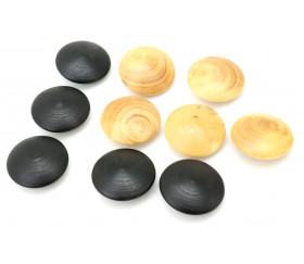 10 Palets galets en buis jeu de go (5 noirs/5 naturels)