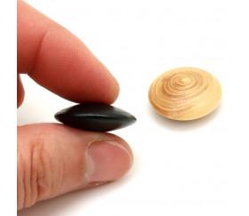 Palet galet 2.3 cm buis noir pour jeu de go unité