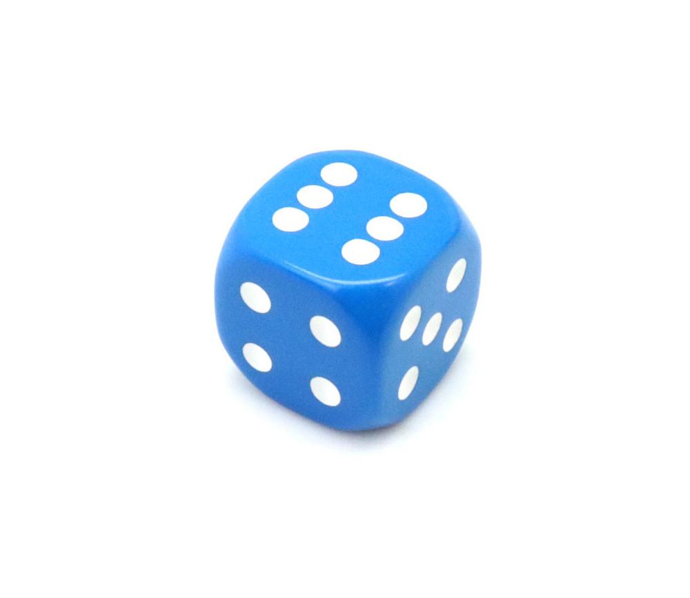 Dé à jouer 22 mm bleu de 1 à 6