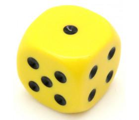 Dé à jouer 22 mm jaune de 1 à 6