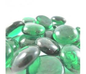 Tube 40 galets vert translucude pierre de vie 12 x 7 mm gems